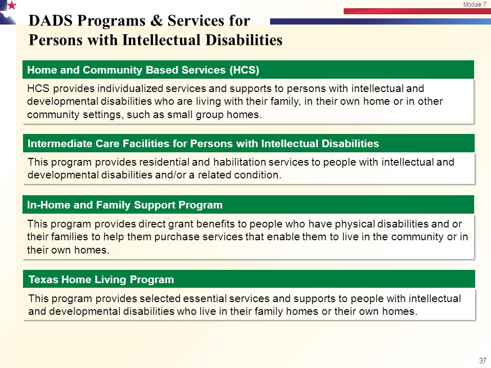 DADS Programs & Services for Persons with Intellectual Disabilities