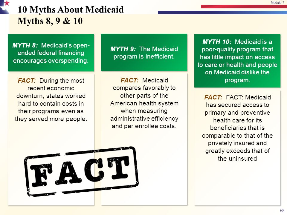 10 Myths About Medicaid Myths 8, 9 & 10