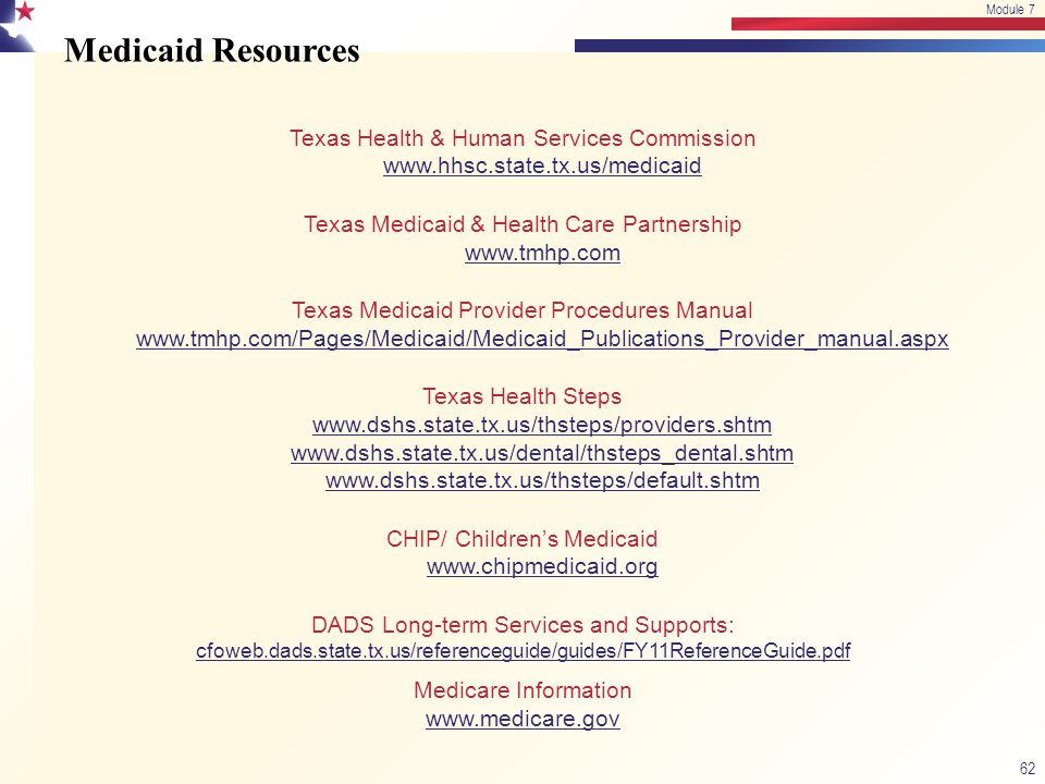 Module 7 4/15/2017. Module 7. Medicaid Resources. Texas Health & Human Services Commission www.hhsc.state.tx.us/medicaid.