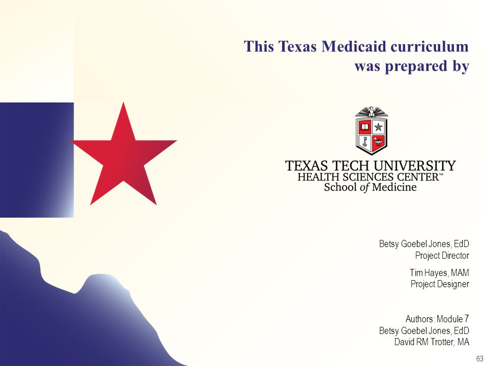 This Texas Medicaid curriculum was prepared by