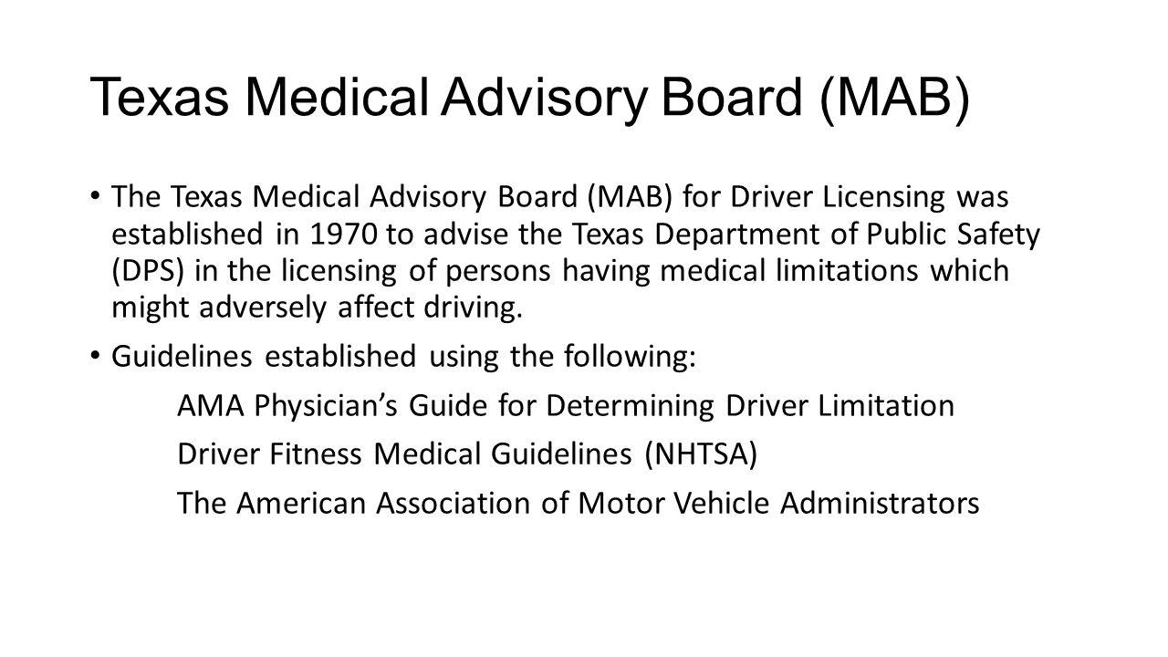 Texas Medical Advisory Board (MAB)