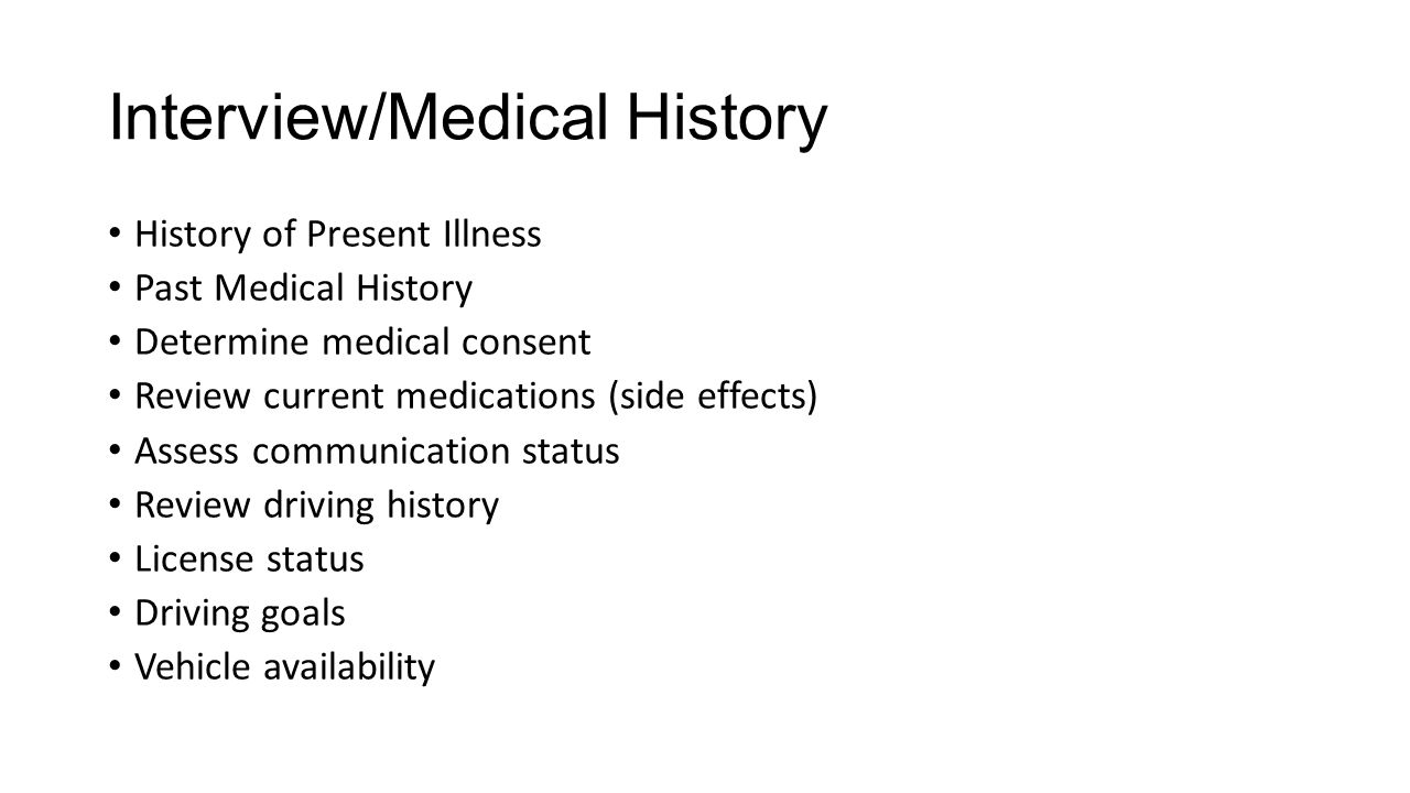 Interview/Medical History