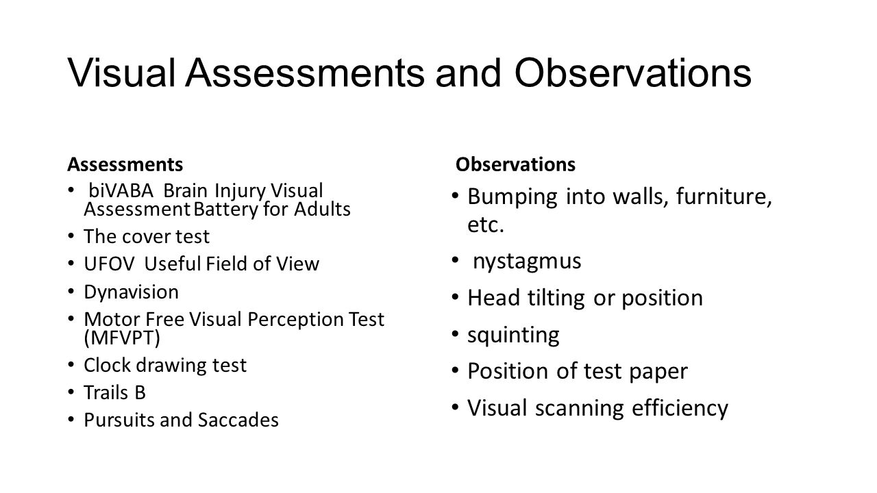 The occupational therapy pre driving clinical assessment for Motor free visual perception test