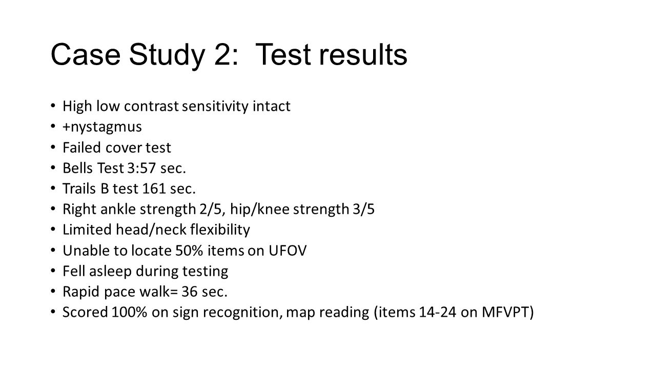 Case Study 2: Test results