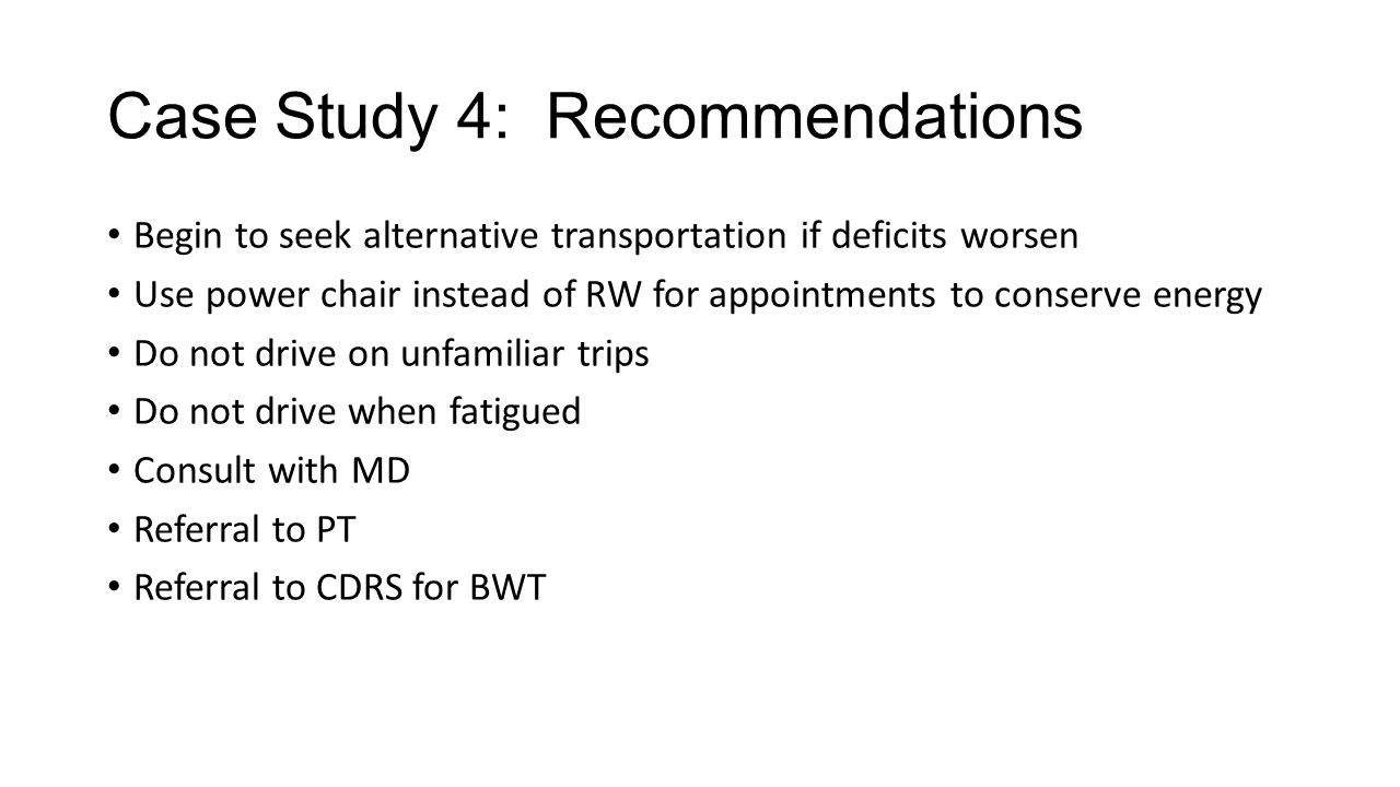 Case Study 4: Recommendations