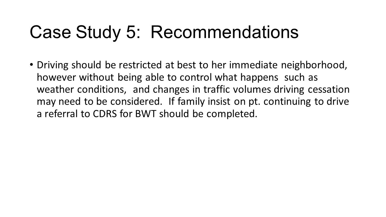 Case Study 5: Recommendations