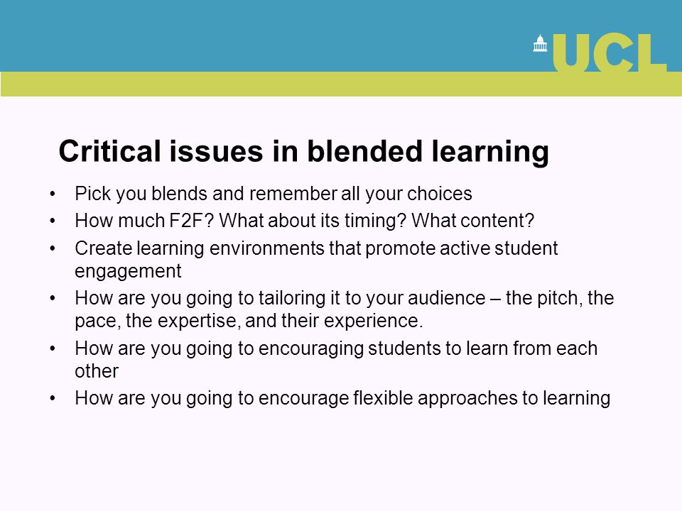 Critical issues in blended learning