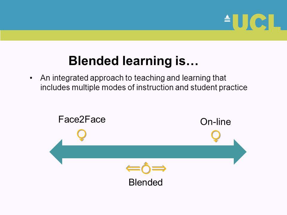 Blended learning is… ⧬ ⧬ ⟸⧬⟹ Face2Face On-line Blended