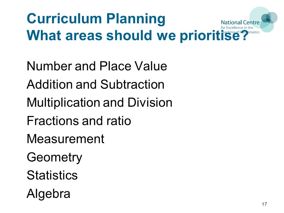 Curriculum Planning What areas should we prioritise