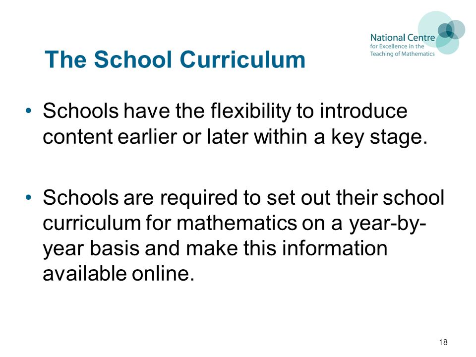 The School Curriculum Schools have the flexibility to introduce content earlier or later within a key stage.