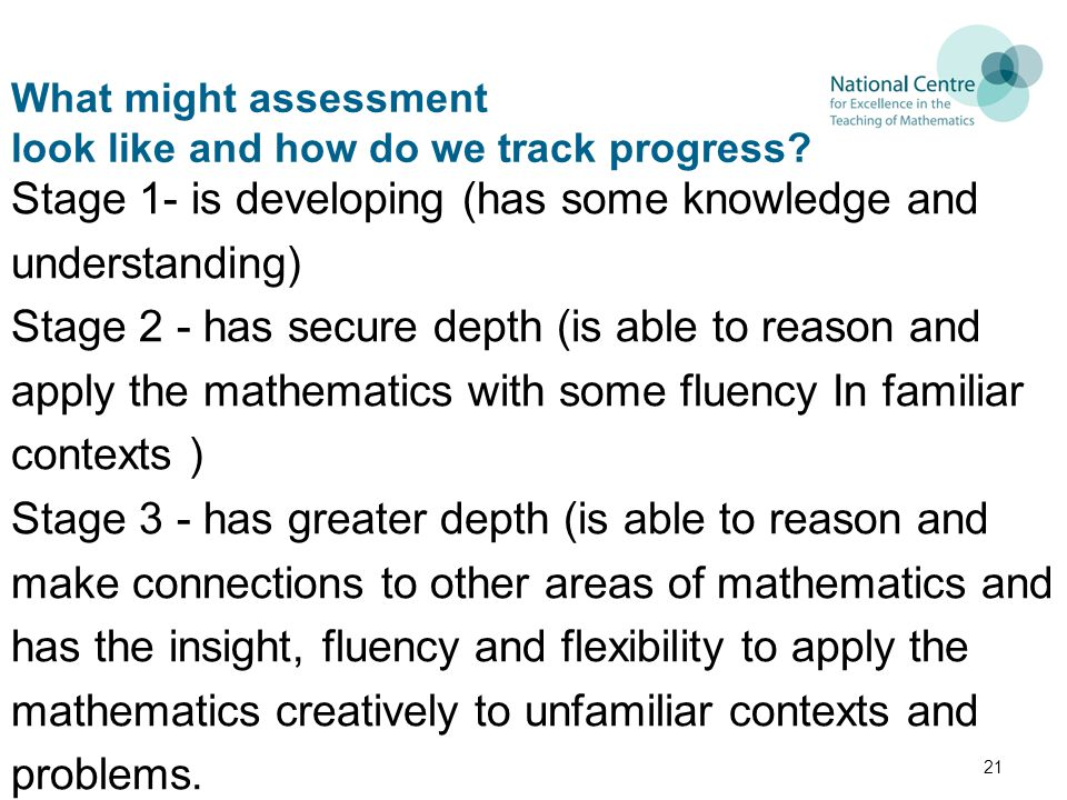 What might assessment look like and how do we track progress