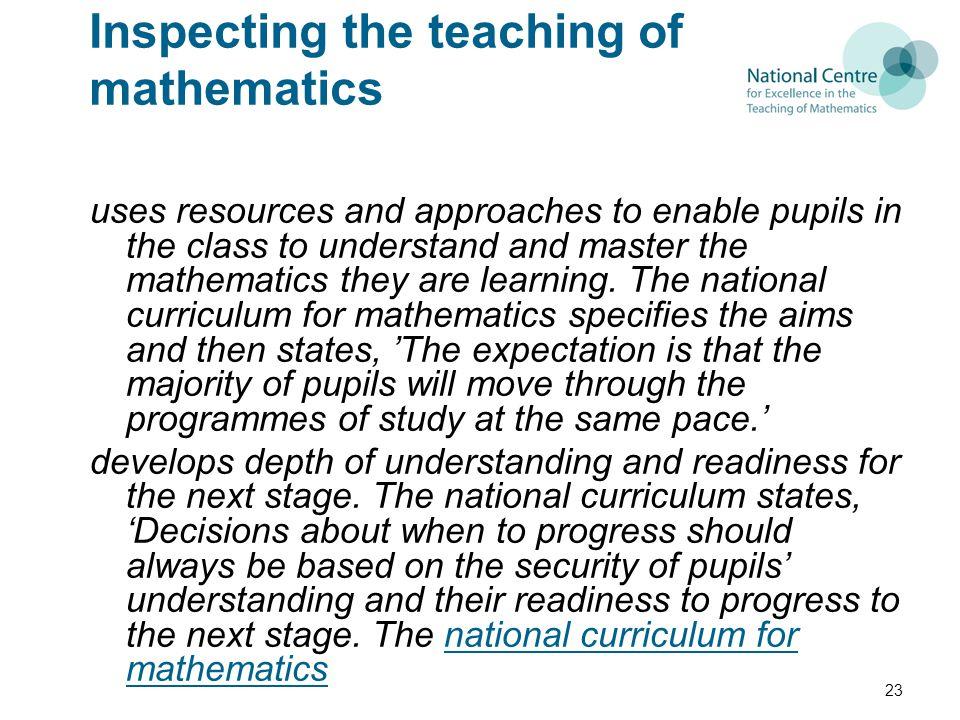 Inspecting the teaching of mathematics