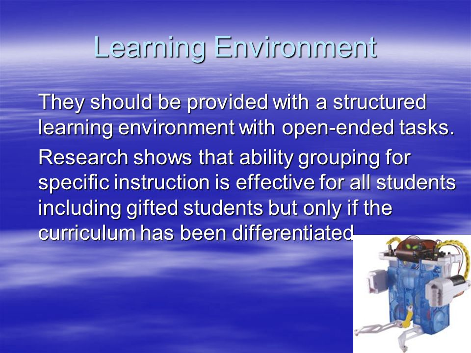 Learning Environment They should be provided with a structured learning environment with open-ended tasks.