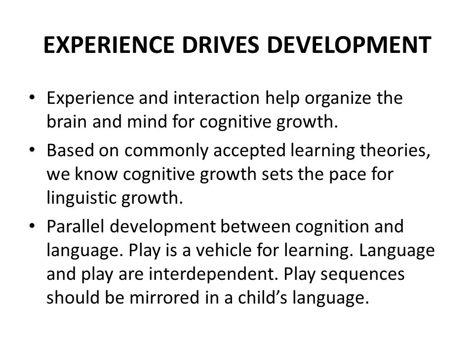 EXPERIENCE DRIVES DEVELOPMENT