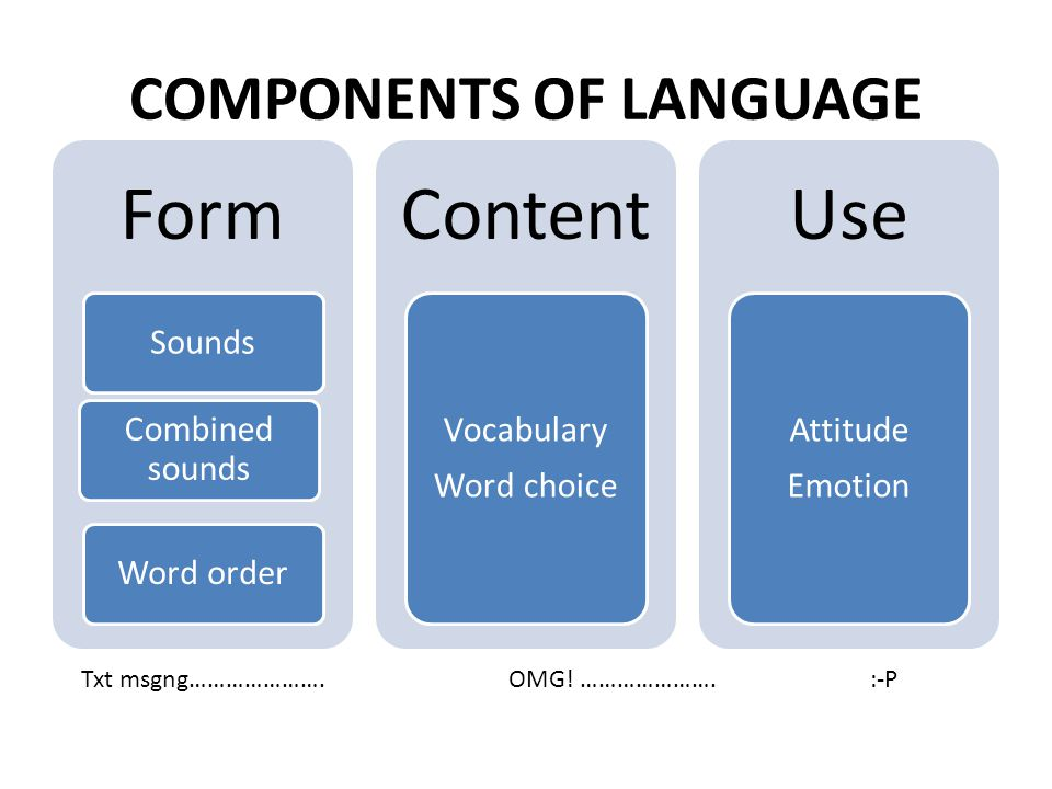COMPONENTS OF LANGUAGE