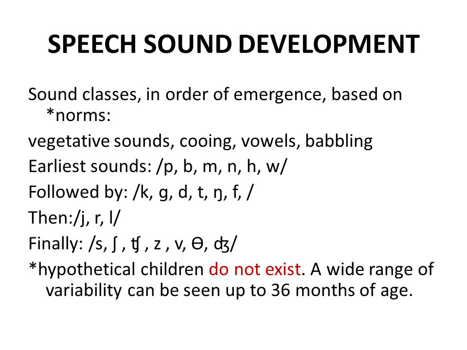 SPEECH SOUND DEVELOPMENT