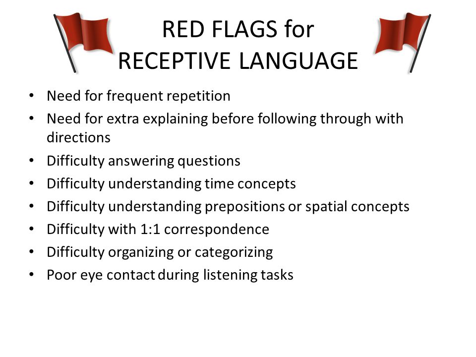 RED FLAGS for RECEPTIVE LANGUAGE