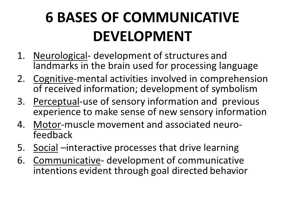 6 BASES OF COMMUNICATIVE DEVELOPMENT