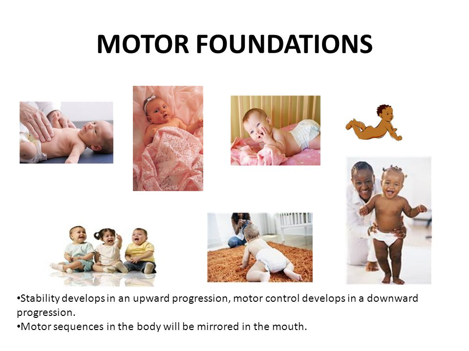 MOTOR FOUNDATIONS Initially underdeveloped muscles, floppy head