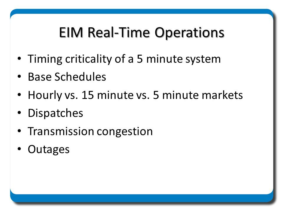 EIM Real-Time Operations