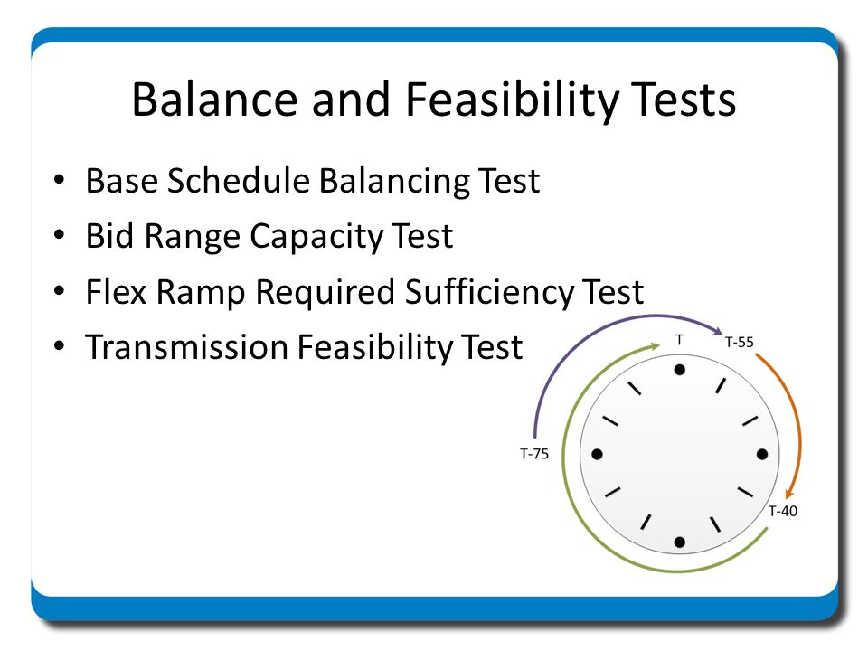 Balance and Feasibility Tests