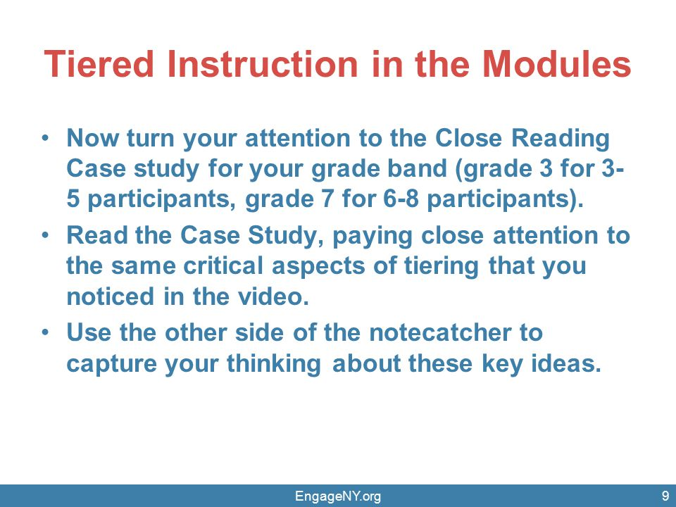 Tiered Instruction in the Modules