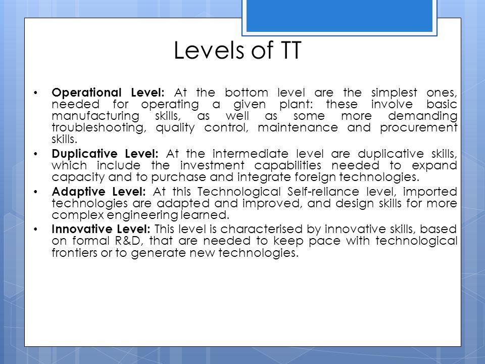 Levels of TT
