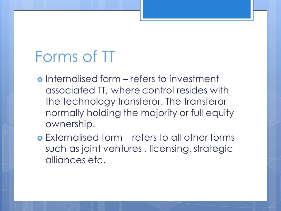 Forms of TT