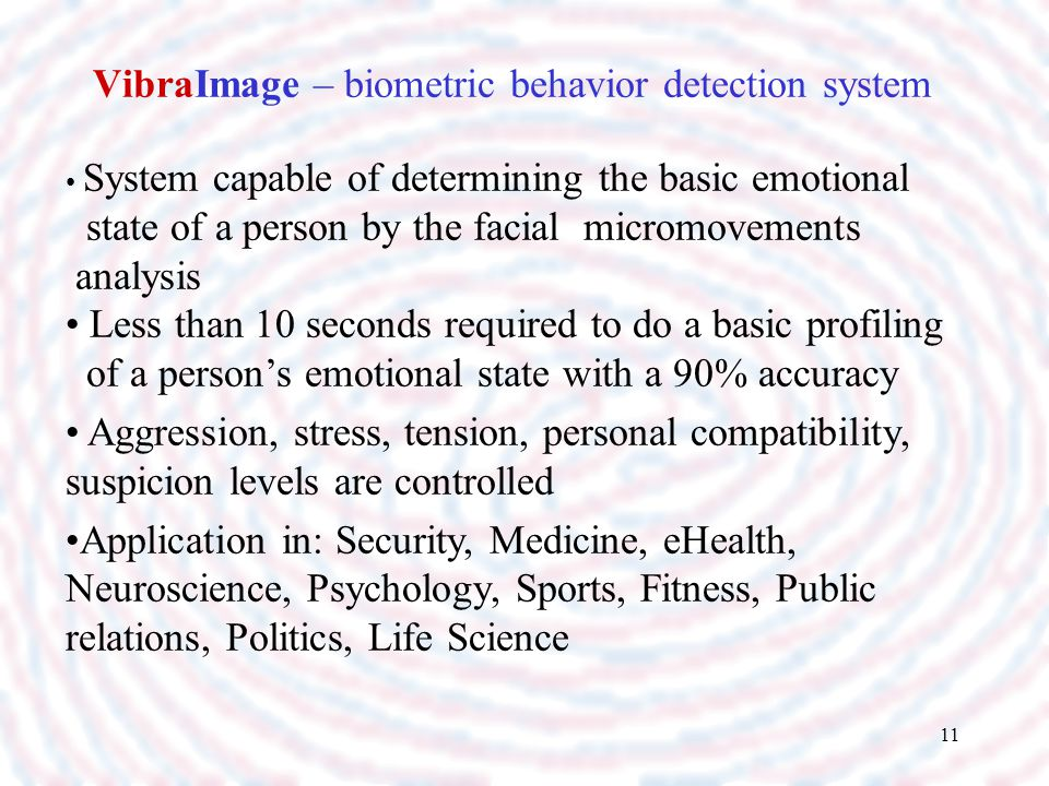 VibraImage – biometric behavior detection system