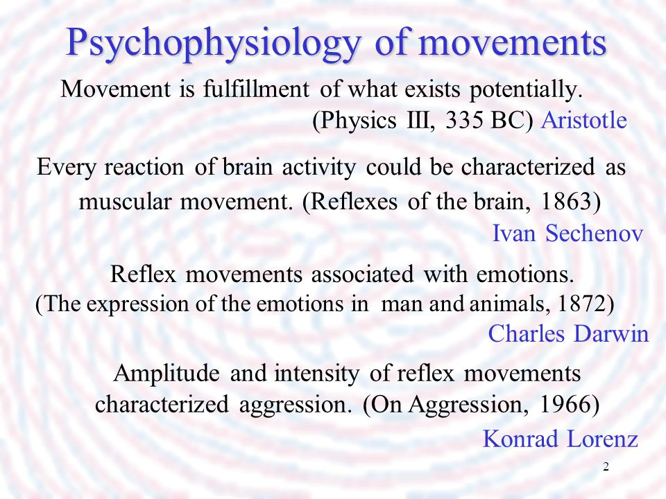 Psychophysiology of movements