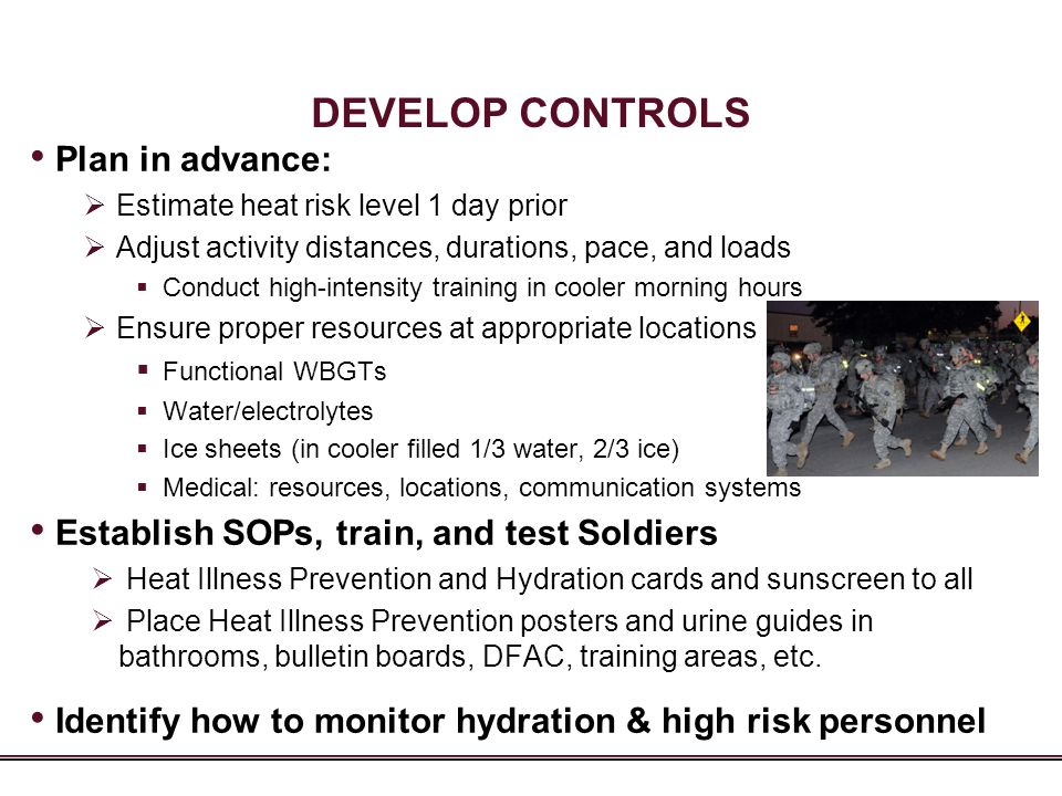 DEVELOP CONTROLS Plan in advance: