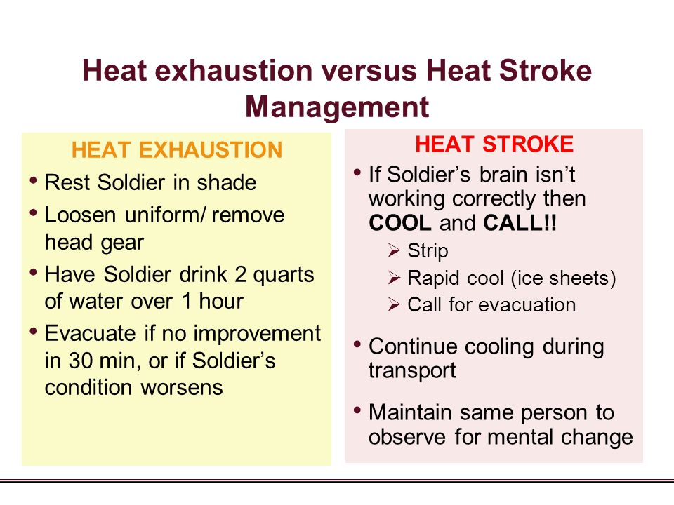 Heat exhaustion versus Heat Stroke Management