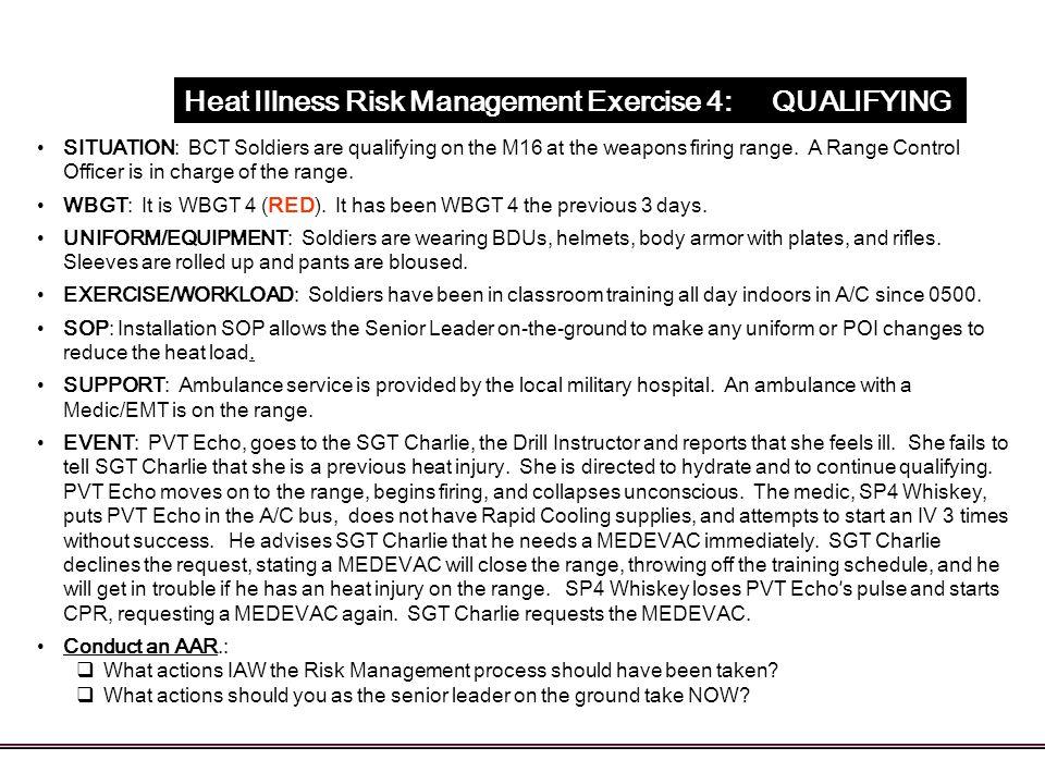 Heat Illness Risk Management Exercise 4: QUALIFYING