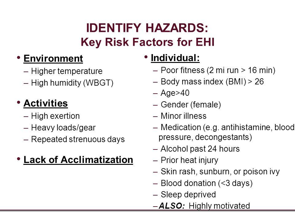 IDENTIFY HAZARDS: Key Risk Factors for EHI