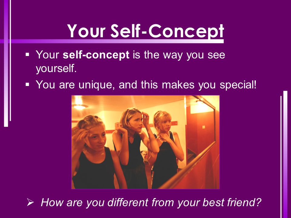 Your Self-Concept Your self-concept is the way you see yourself.