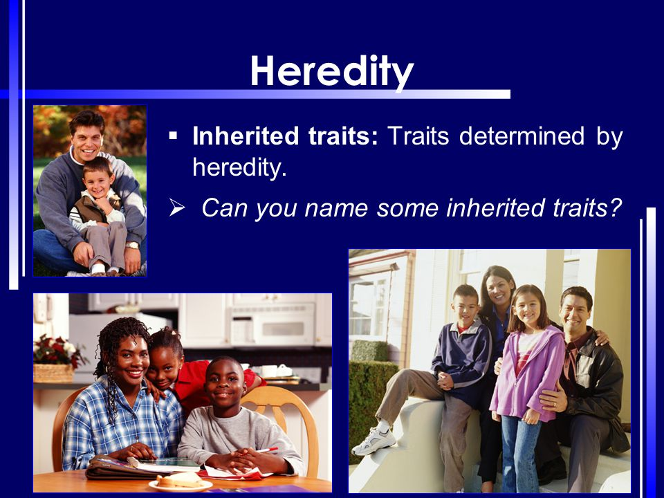 Heredity Inherited traits: Traits determined by heredity.