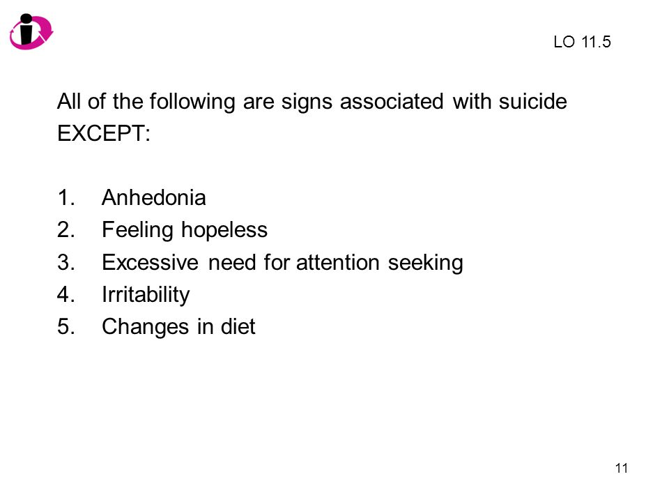 All of the following are signs associated with suicide EXCEPT: