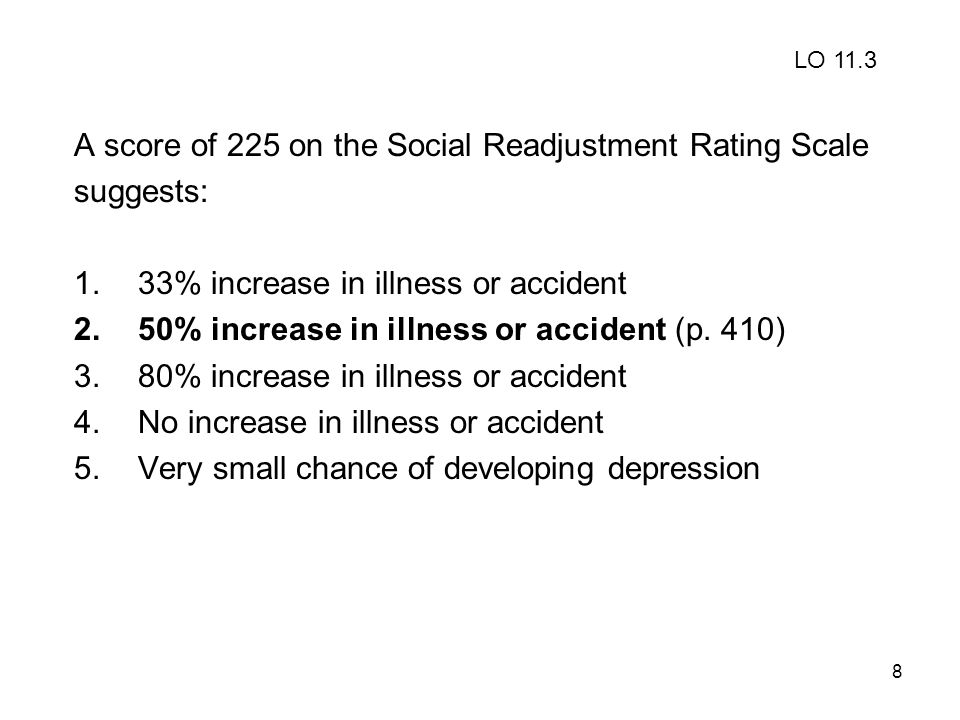 A score of 225 on the Social Readjustment Rating Scale suggests: