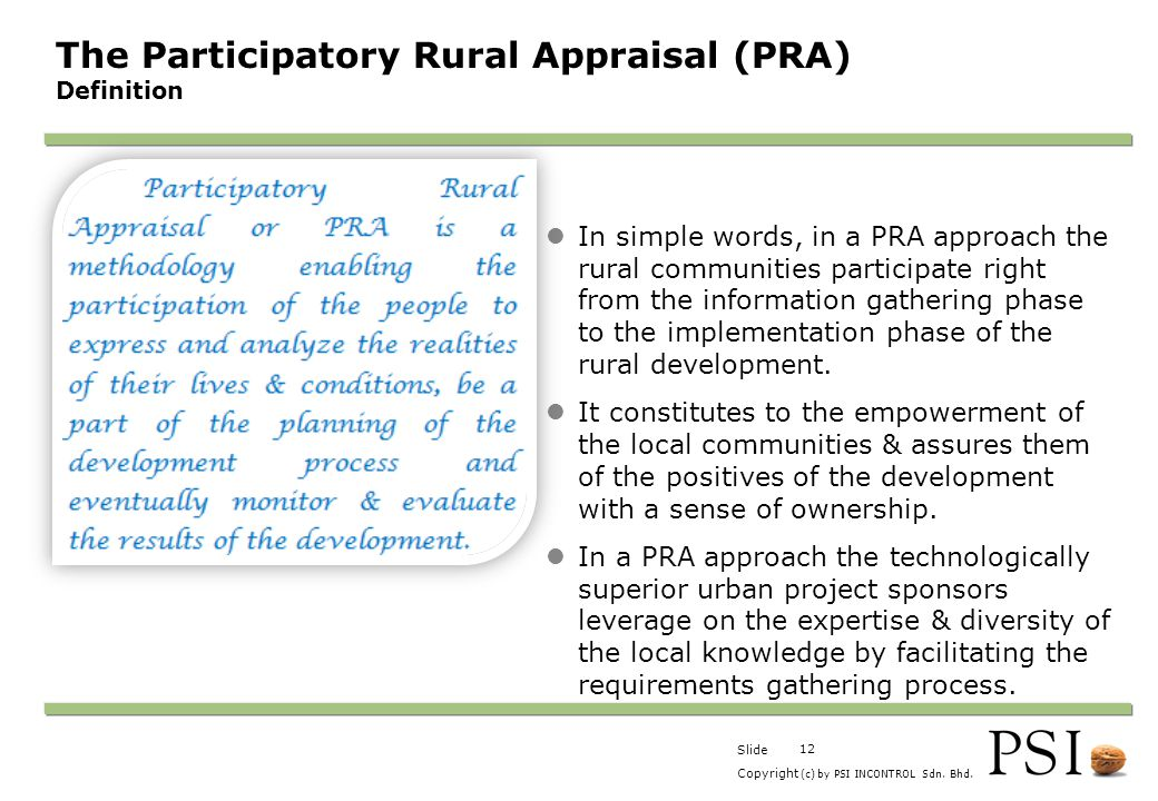 The Participatory Rural Appraisal (PRA) Definition