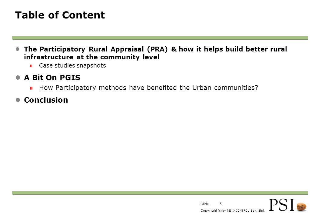 Table of Content A Bit On PGIS Conclusion