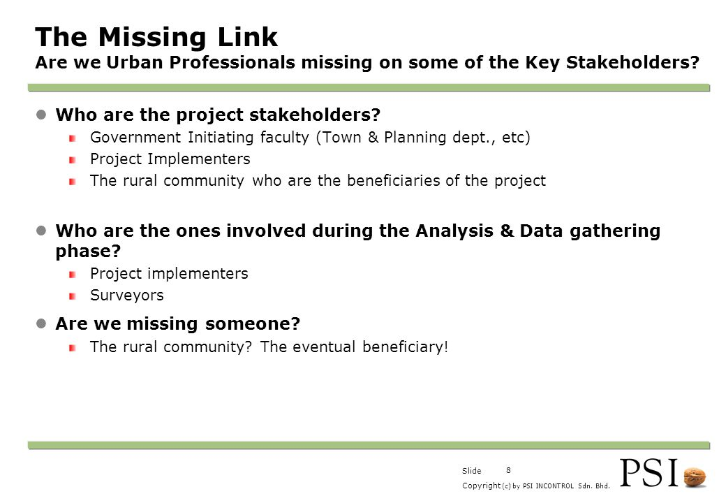 The Missing Link Are we Urban Professionals missing on some of the Key Stakeholders