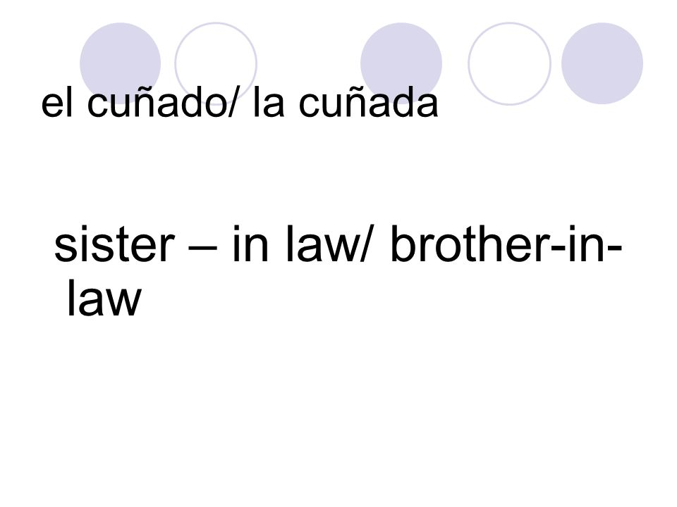 el cuñado/ la cuñada sister – in law/ brother-in-law