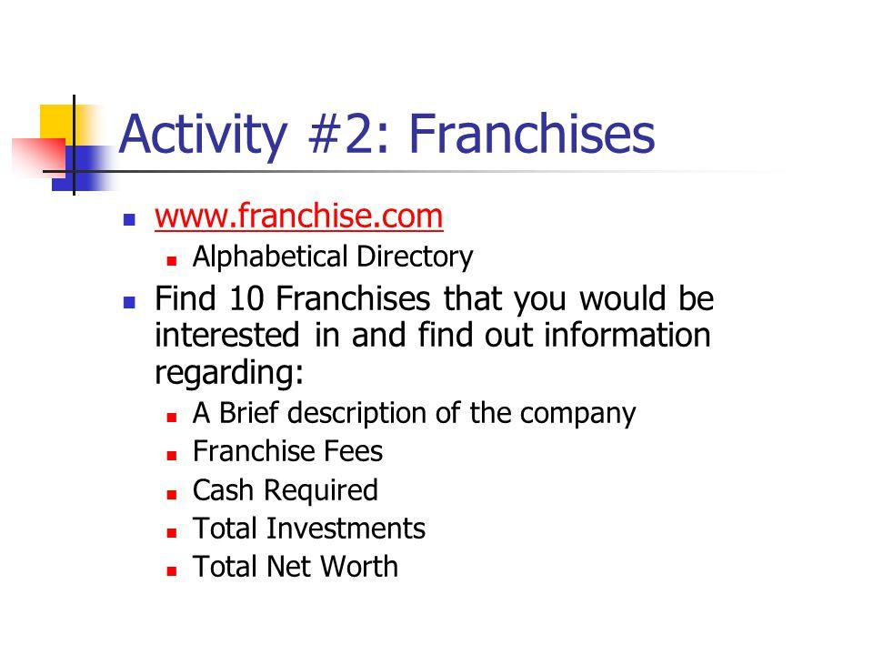 Activity #2: Franchises