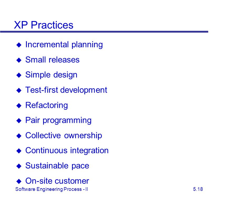 XP Practices Incremental planning Small releases Simple design