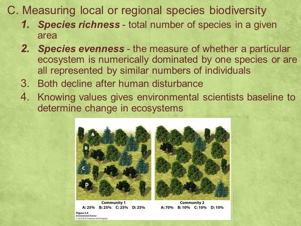 C. Measuring local or regional species biodiversity