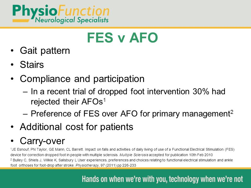 FES v AFO Gait pattern Stairs Compliance and participation