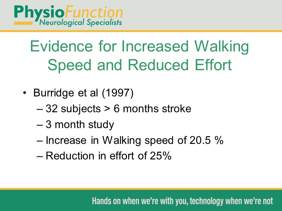 Evidence for Increased Walking Speed and Reduced Effort