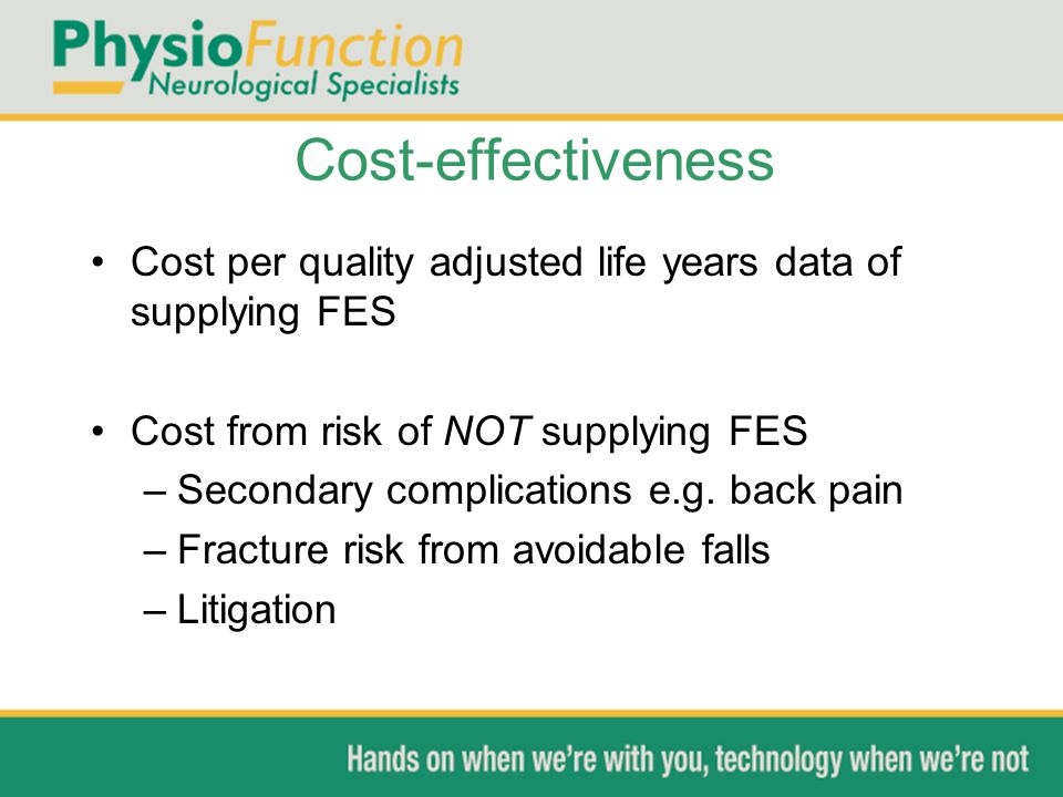 Cost-effectiveness Cost per quality adjusted life years data of supplying FES. Cost from risk of NOT supplying FES.