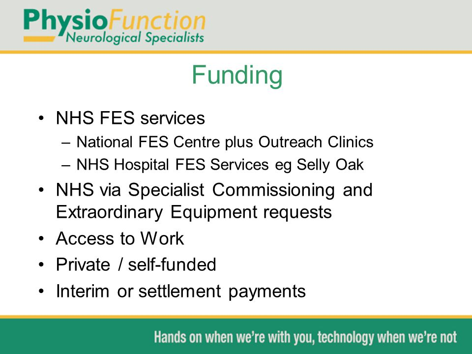 Funding NHS FES services