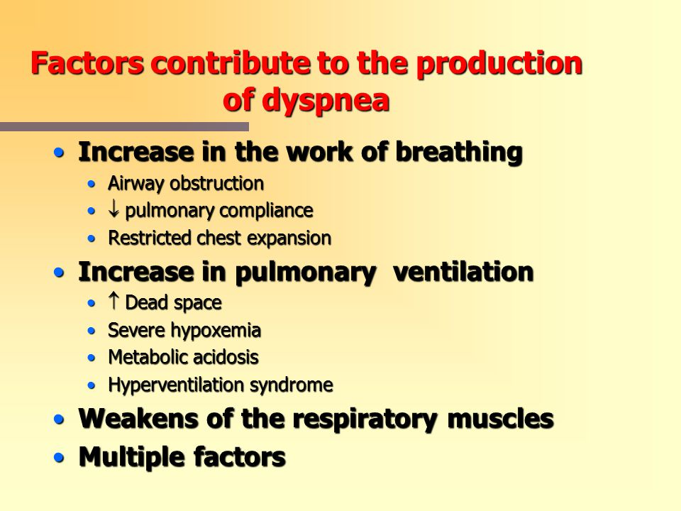 Factors contribute to the production of dyspnea
